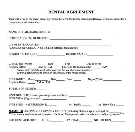 standard agreement template standard rental agreement 7 free documents in