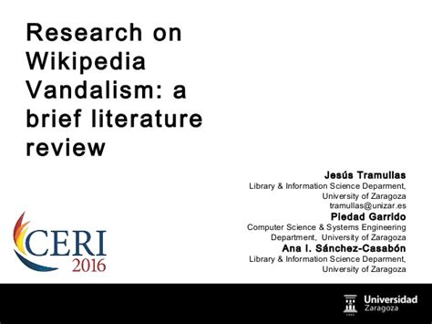 Project Brief Literature Review by Research On Vandalism A Brief Literature Review