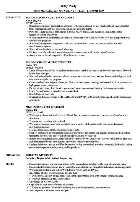 Mechanical Test Engineer by Principal Mechanical Engineer Sle Resume Resume Sle Internship