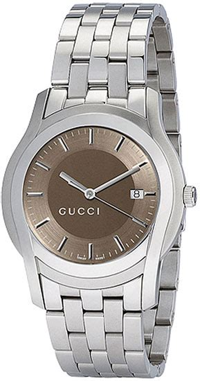 gucci ya055215 mens brown stainless steel