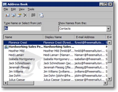 Outlook Email Address Finder Finding Contacts In Outlook 2003 S Address Book
