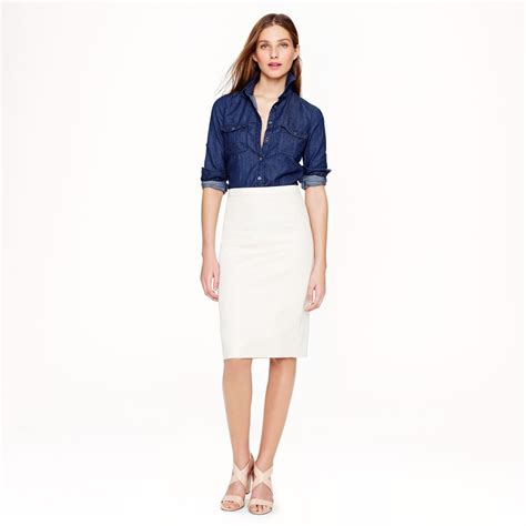 j crew pencil skirt in stretch cotton in white