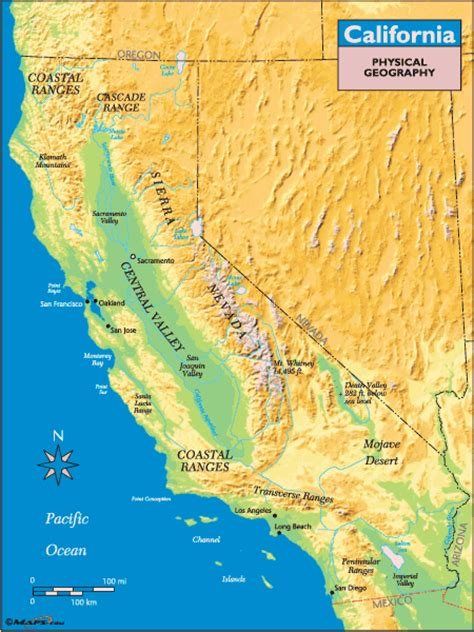 california map geographical geography of california