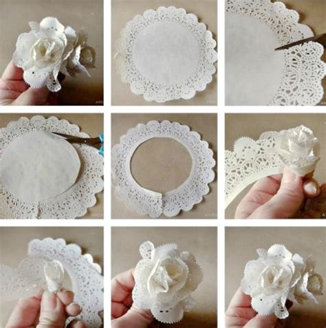 Paper Doilies Crafts - paper doily flowers diy how to make tutorial paper