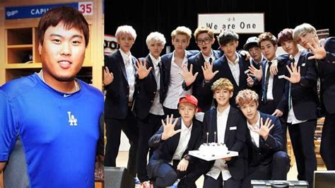 exo run exo to run with baseball player ryuhyunjin on