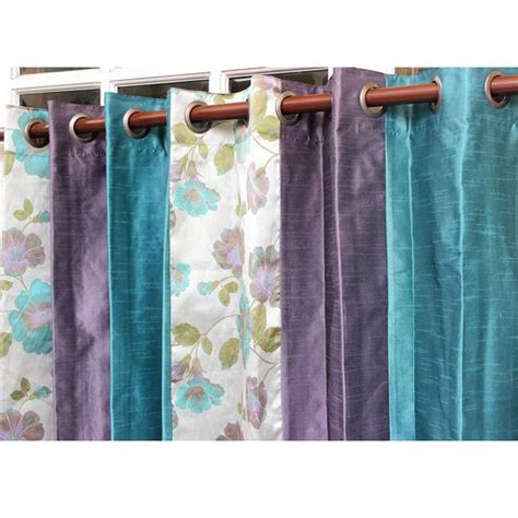 Teal And Purple Curtains Shabby Chic N Silk Stripes Curtain Panels 52 Quot X84 Quot Grommet Lined Drapes Valance Home Living