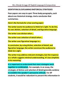 Ap English Language And Composition Rhetorical Analysis Essay Sample Weak Rhetorical Analysis Essays