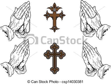 vector of pray silhouettes of hands praying with a