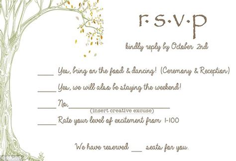 wedding invitations rsvp wording an australian sent the best wedding rsvp card daily mail