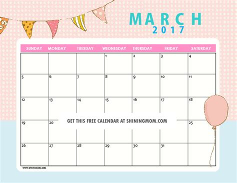 printable calendar cute 2017 printable monthly calendar for 2017 cute