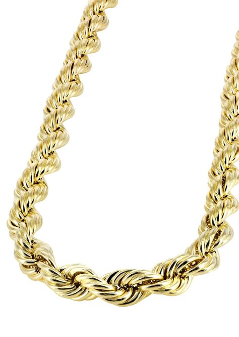 Hollow Mens Rope Chain 10k Yellow Gold Frostnyc