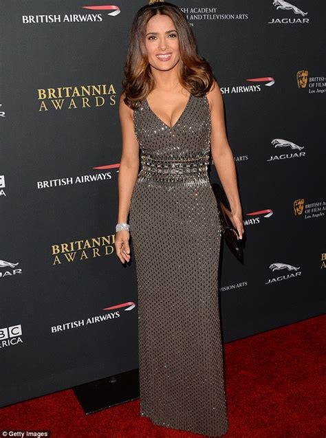 Salma Dress Grey salma hayek showcases hourglass shape in plunging sequin gown at the bafta britannia awards