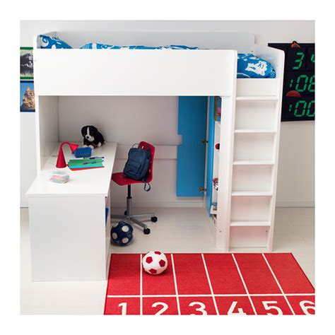 The Room 2 Desk Drawers by Stuva Loft Bed Combo W 2 Shlvs 3 Shlvs White Lofts And