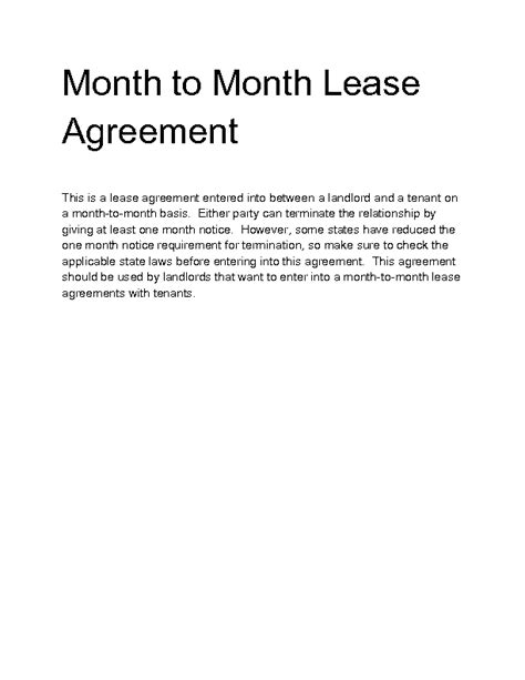 Month To Month Lease Letter Sle Welcome To Docs 4 Sale