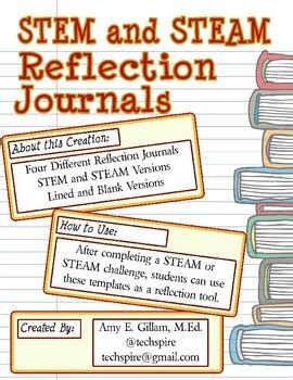 graphic design reflective journal stem and steam reflection journal by amy o riley tpt