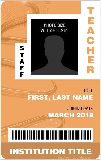 10 best ms word id card templates for teachers professors