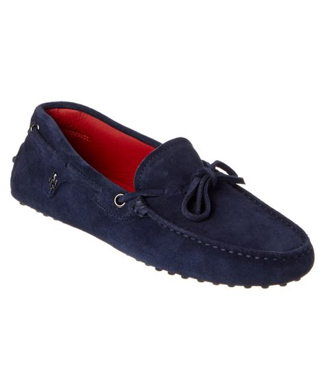 Tods Ferrari by Tod S Ferrari Gommino Suede Driving Shoe In Blue Lyst