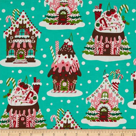christmas gingerbread house to buy michael miller holiday gingerbread houses aqua discount designer fabric fabric com