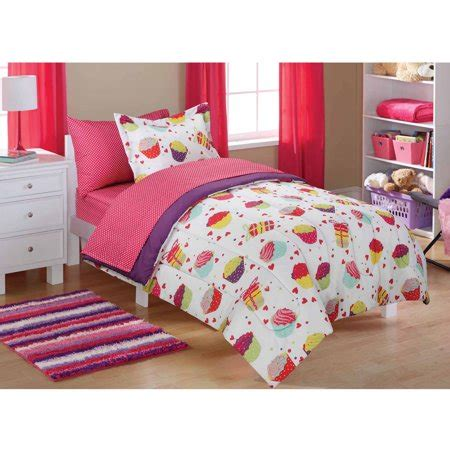 Size Bed Sets Walmart by Mainstays Cupcake Coordinated Bed In A Bag Walmart