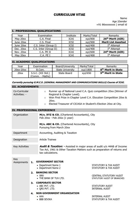 standard format of resume for ca articleship resume cv sle format chartered accountant ca mba