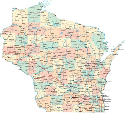 large printable road maps wisconsin map free large images