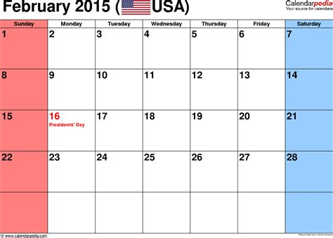 february 2015 calendars for word excel pdf