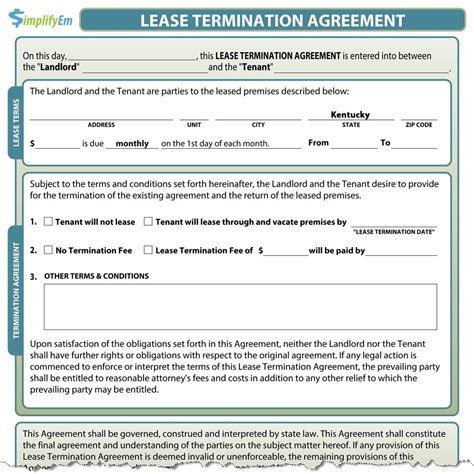 Lease Termination Agreement Sle by Kentucky Lease Termination