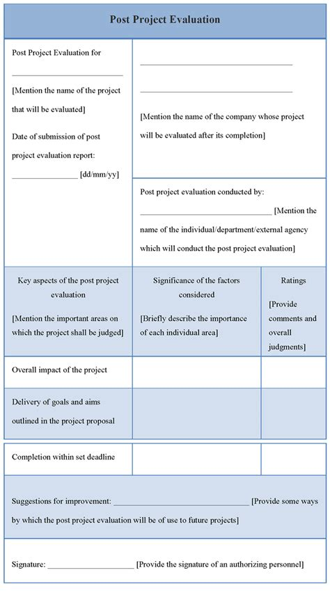 evaluation template evaluation template for post project exle of post