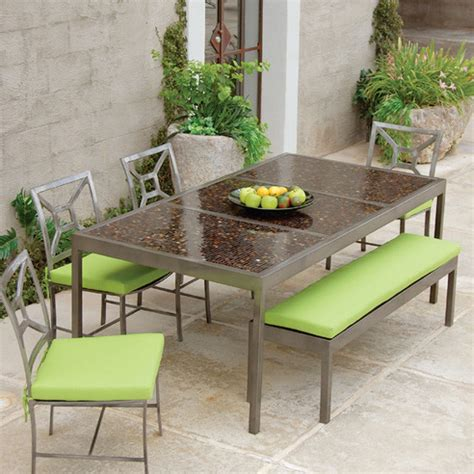Mosaic Outdoor Dining Table Modern Living 82 Quot Mosaic Dining Table Modern Outdoor Tables Atlanta By Iron Accents