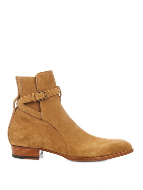 laurent mens chelsea boots laurent suede chelsea boots in brown for lyst