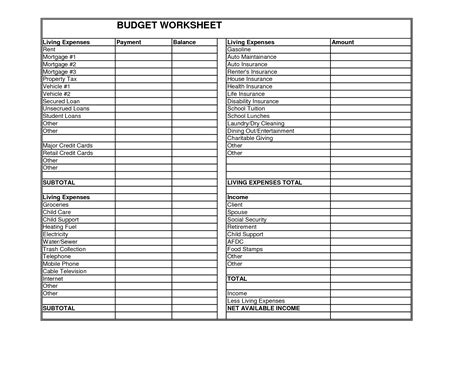 worksheet living expenses worksheet caytailoc free