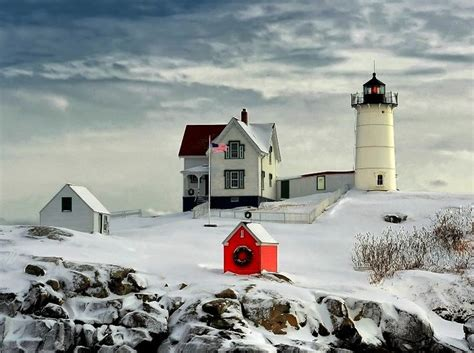 Nubble Light by Nubble Lighthouse House Light