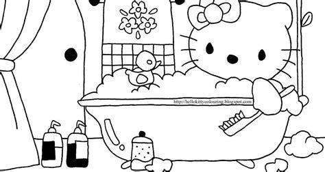 Bathtub Bath Hello Kitty Coloring Hello Kitty In The Bath Tub To Colour In