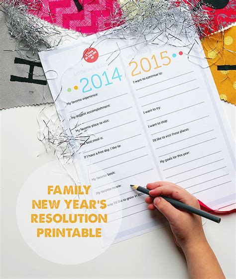 new year reviews free printable family new year s resolutions year in