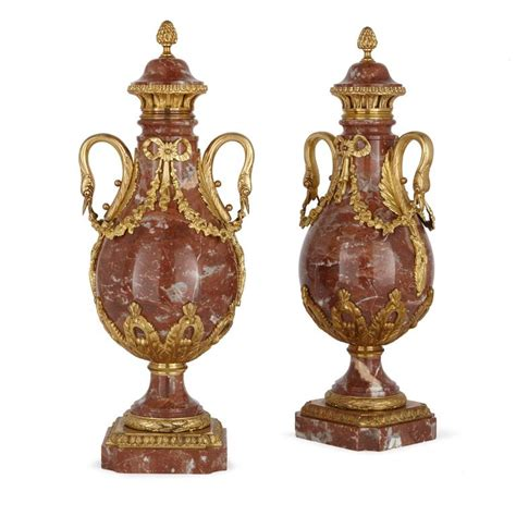 Marble Vases For Sale by Pair Of Louis Xvi Style Ormolu Mounted Marble Vases For