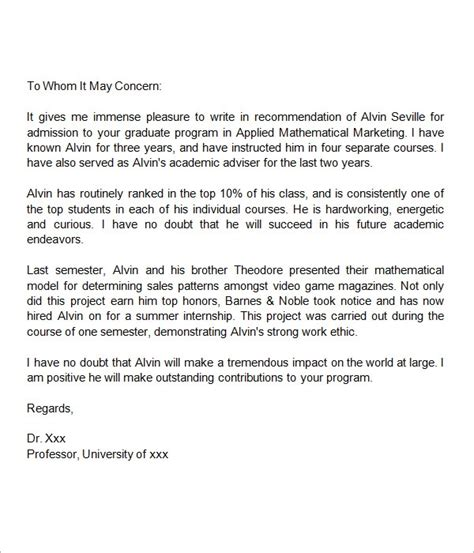 Recommendation Letter For College Entrance reference letter for admission letter of recommendation