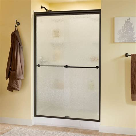 Delta Glass Shower Doors Delta Lyndall 48 In X 70 In Semi Frameless Sliding Shower Door In Bronze With Glass