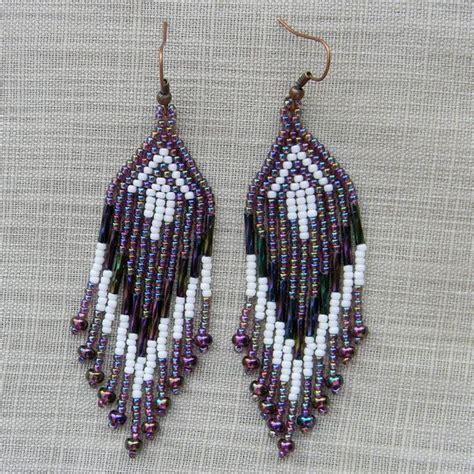 Anting Ke57624 Anting Tassel White purple and white fringe earrings beaded earrings