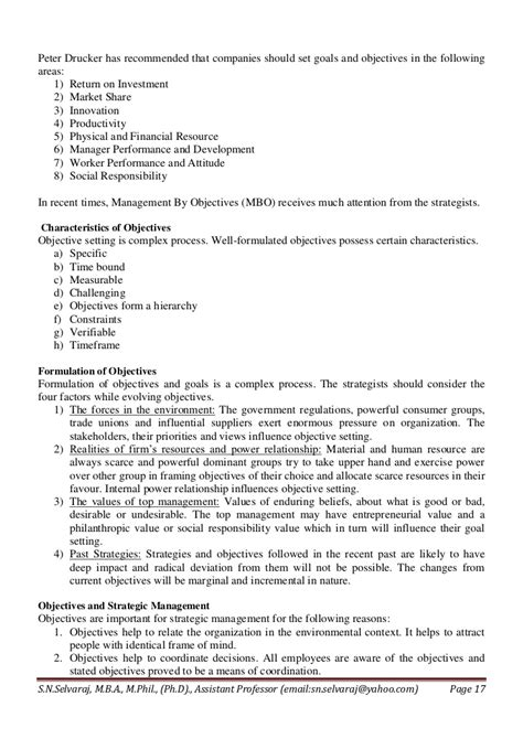 Strategic Management Notes For Mba Doc by Notes For Mba Strategic Management Unit I