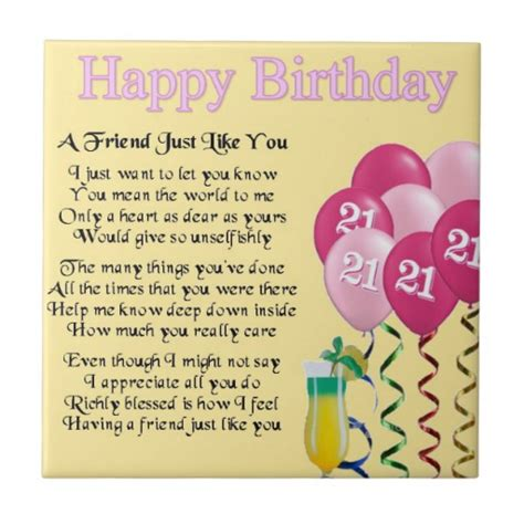 Best Friend 21st Birthday Quotes Friend Birthday Poems