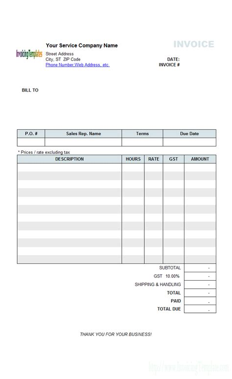 beautiful service invoice template with hourly rate