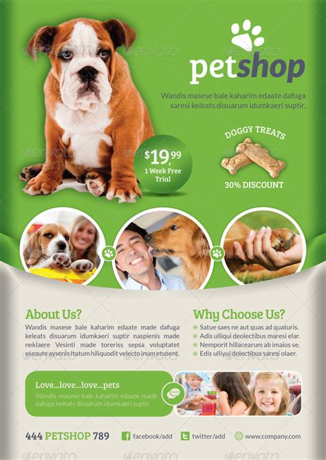 Pet Shop Flyer Template By Grafilker Graphicriver Free Pet Store Website Templates