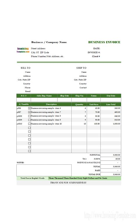 sle invoice of movers and packers invoice template for word