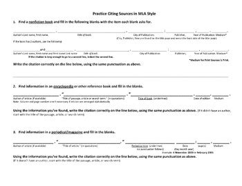 Mla Practice Worksheet by Finding Citing Sources Mla Style Worksheet Sle