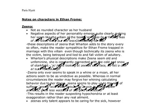 Zeena Frome Essay by Character Notes For Ethan Frome Zeena And Ethan A Level Marked By Teachers