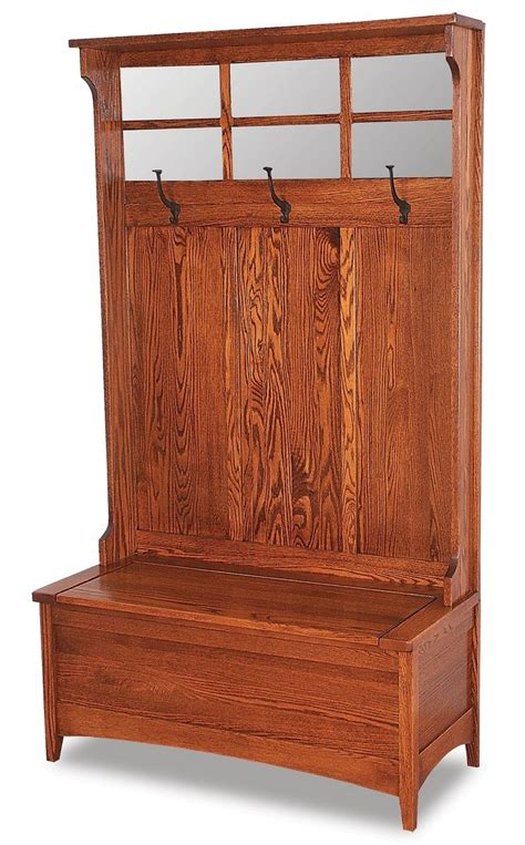 wooden hall tree storage bench amish wood hall tree storage bench mirror hallway entryway