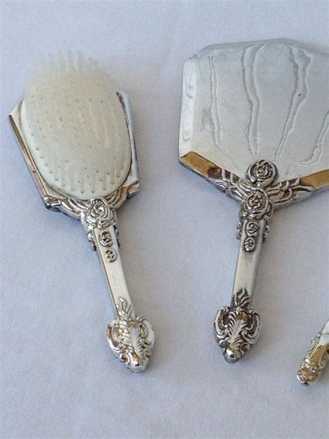 brush and mirror dresser set silver plated godinger gsa vanity set brush comb