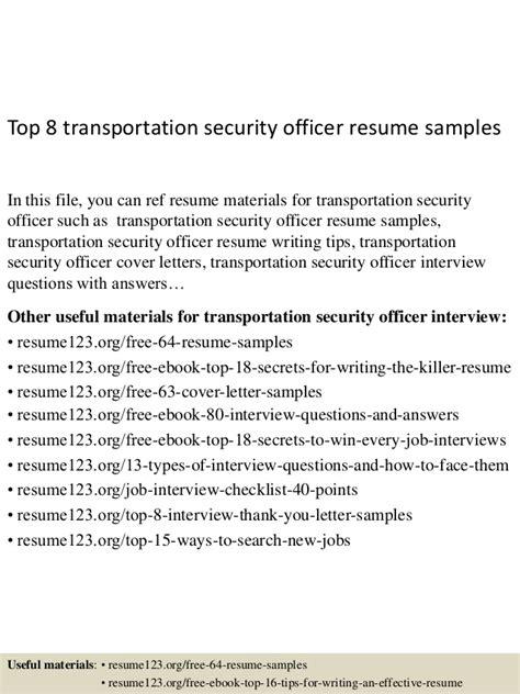 transportation security officer resume sle top 8 transportation security officer resume sles