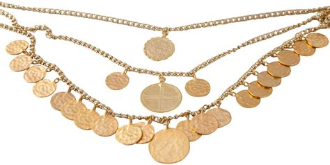 kenneth jay lane  row hammered gold coin charm necklace