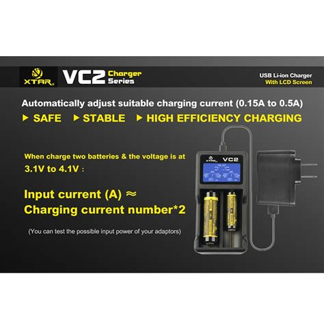 Xtar Vc2 Premium Micro Usb Battery Charger 2 Slot For Li Ion And Ni Mh xtar vc2 premium micro usb battery charger 2 slot for li ion with lcd display black